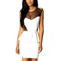 Maykool Women's White Mesh Splicing Spikes Decor Peplum Dress