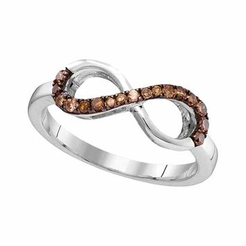 10kt White Gold Womens Round Brown Color Enhanced Diamond Infinity Ring 1/5 Cttw