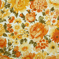1970's Retro Wallpaper - Vintage Orange and Yellow Roses and Daisies