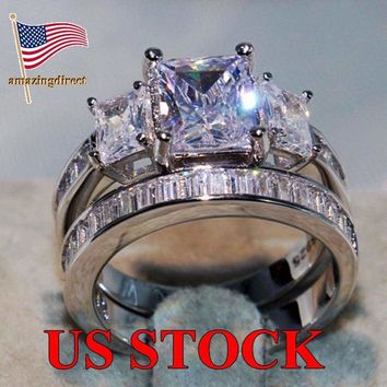 925 Sterling Silver Clear Cubic Zirconia Diamante Ring Wedding Rings Size 6-10