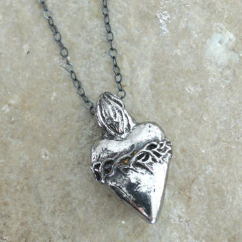 Silver Necklace - Heart Necklace - My Hearts a Flame - Milagro Necklace - Pewter Necklace - handmade jewelry