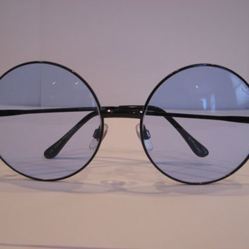 Oversized circle sunglasses black metal with blue lenses 90's Vintage deadstock