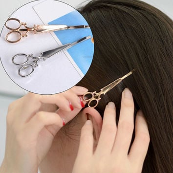 Cool Simple Head Jewelry Hair Pin Gold Scissors Shears Clip For Hair Tiara Barrettes Accessories Headdress For Girl Women SM6