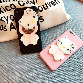Cute Lovely Hello Kitty Liquid Glitter Case For iPhone X XR XS Max 5 5S 6 6S 7 8 Plus Mirror Phone Cases TPU Cover
