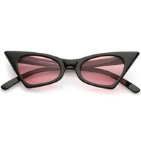 Retro Small High Pointed Cat Eye Sunglasses Tinted Colored Oval Lens 46mm