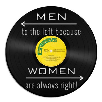 Restroom Wall Art Powder Room Sign Bathroom Art Men to the left because Women Are Always Right Wall Decor Home Decor Vinyl Record Wall Art