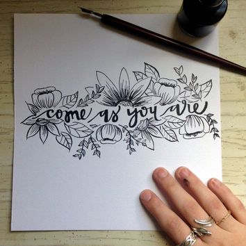 Hand Lettering Original Scripture Art Calligraphy Painting // come as you are