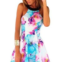 Women's Summer Floral Sleeveless Print Dress (S)