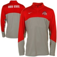 Nike Ohio State Buckeyes Shootaround Long Sleeve Quarter-Zip Performance T-Shirt - Scarlet/Gray