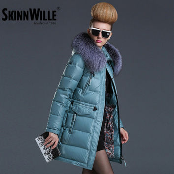 SKINNWILLE jacket women Cotton coat  fashion brand  Warm Jacket winter coat women parkas for women winter winter jacket fur coat