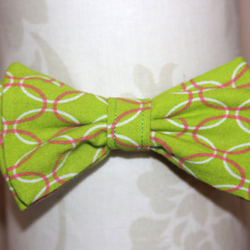 Green & Pink Ovals Adjustable Bowtie (Baby / Infant / Toddler Boy)