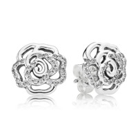 PANDORA | Rose silver stud earrings with cubic zirconia