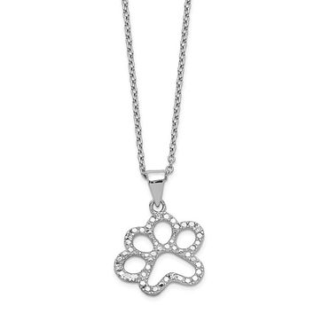Cheryl M Sterling Silver CZ Paw Necklace
