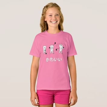Cute Kitty Playing Golf Kawaii Word In Japanese T-Shirt