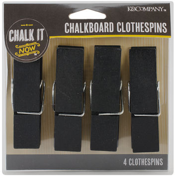 "Chalk It Now Chalkboard Large Clothespins 4/Pkg-2.875""""X.75"""""