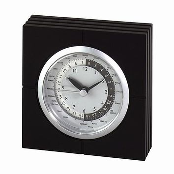 Personalized Free Engraving Black Silver Desk World Clock
