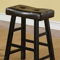 Set of 2 black finish wood and brown faux leather country style backless counter height bar stool