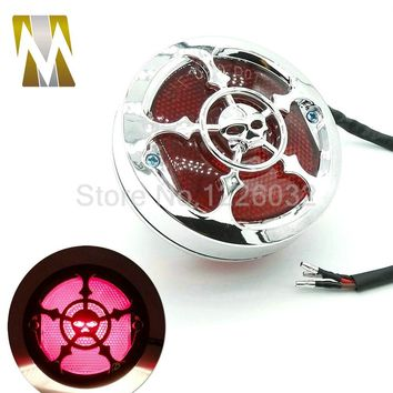 Chrome Skull Style License Plate Light Universal Motorcycle Rear Brake Stop Tail Light Lamp For Harley Bobber Chopper Cafe Racer