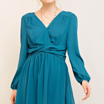 Long Sleeve Twist Waistband A-Line Dress