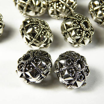 2 Pcs - 12x15mm Hollow Metal Spacer Beads - Tibetan Silver - Spacer Beads - Jewelry Supplies