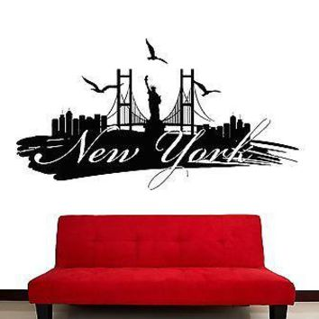 Wall Stickers Vinyl Decal New York Big Apple City USA Decor Unique Gift (z2069)