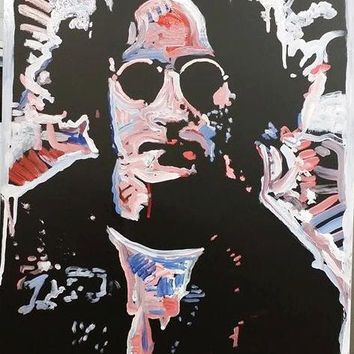 John Lennon The Beatles Art Original Oil Painting 16x20 Pop Art Painting Wall Art Red White Blue Art Hippie Decor Gifts for All