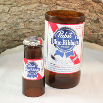 Unique Glassware Set Upcycled from Pabst Blue Ribbon Beer Bottles, Shot Glass, Drinking Glass, Pabst Blue Ribbon Gift Set