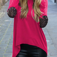Red Sequined Elbow Long Sleeve Long Back Blouse