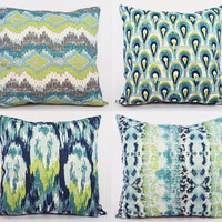 Blue Ikat Pillow Covers - Two Blue and Green Ikat Pillow Covers - 16 x 16 Inch Decorative Pillow - Blue Ikat Pillow - Green Ikat Pillow