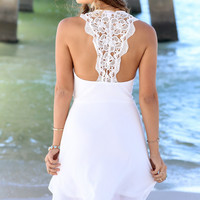 Wet Sand Off White Slipped Dress With Solid Crochet Back