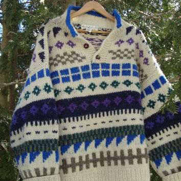 Vintage Wool Handmade 90s Pullover Sweater Cowichan Style Aztec Chunky Wool