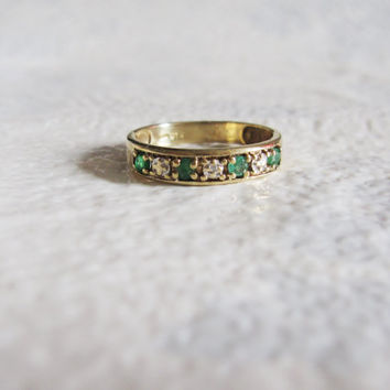 10k Estate Vintage Genuine Emerald Diamond Wedding Band Ring Gemstone Diamonds Gold Art Deco Edwardian Georgian Antique birthstone stacking