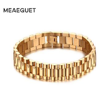 Meaeguet 15mm Wide Luxury Men Watch Band Bracelet Gold-Color Stainless Steel Strap Links Cuff Bangles Jewelry Gift Length 22CM