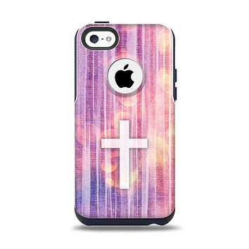 The Vector White Cross v2 over Vibrant Fading Purple Fabric Streaks Apple iPhone 5c Otterbox Commuter Case Skin Set