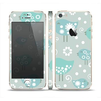The Subtle Blue Multiple Birds Skin Set for the Apple iPhone 5s