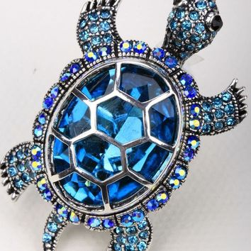 Pendants Turtle tortoise brooch pin crystal jewelry fashion BA15