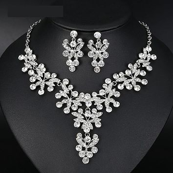 Butterfly Crystal Bridal Jewelry Set Silver Statement Necklace Set