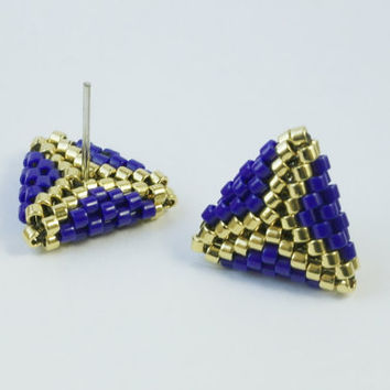 Modern Triangle Earrings, 24K Gold Beads, Blue and Gold Earrings, Navy Blue, Hypoallergenic Post, Delica, Geometric, Triangle Jewelry, Small