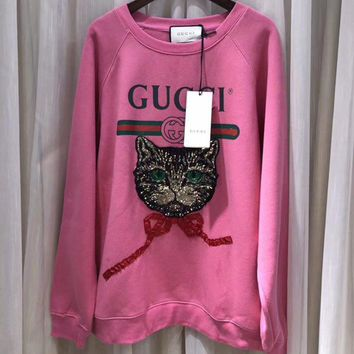"""""""Gucci"""" Fashion Letter Print Embroidery Sequin Cat Head Long Sleeve Pullover Sweater Women Tops"""