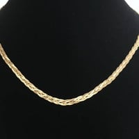 "12K GF Chain Braid 18"" Gold Filled Braided Serpentine Weave Necklace Gift for Her Golden Estate Jewelry Signed 1/20 12KT.G.F."