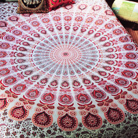 By The Moon - Phoenix Mandala Throw - Queen - Red
