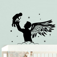 rvz539 Wall Decal Vinyl Sticker Nursery Kids Baby Dad Daddy with Baby Wings Stars Z539