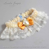 "Gold and Ivory Lace Wedding Garter ""Victoria 10"" Gold"