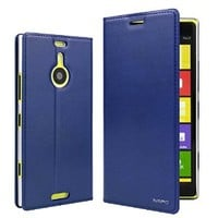 Moon Monkey Genuine Leather Superior Luxury Ultra-thin Slim Folio Stand & Wallet Feature Leather Cover Case for Nokia Lumia 1520 (Blue)