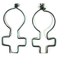 "Women's Rights Earrings Feminist Jewellery Green 2"" Jewelry Woman Symbol Female Feminism Girl Pride Silver Plated Ear Wire Earwear 176"