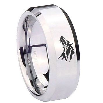 8MM Mirror Bevel Edges Wolf Design Silver Tungsten Laser Engraved Ring