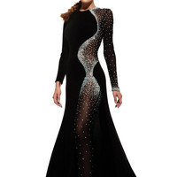 JOHNATHAN KAYNE 6093 Black Long Sleeve Crystal Bodysuit Evening Prom Dress