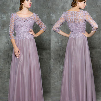 GLOW G724 Lace Half Sleeve Chiffon Prom Evening Dress