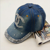 fashion brand Chanel woman jean crystal hip hop snapback ha design popular women rhinestone denim baseball cap