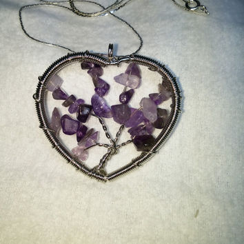 Amethyst Tree Of Life Heart Wire Wrap Silver Plated Necklace